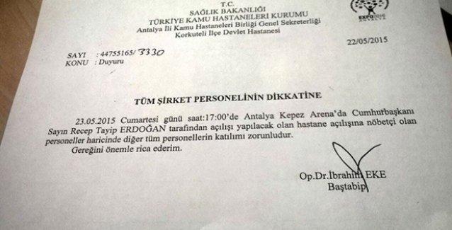 Erdoğan'ın mitingi için tebliğ: Nöbetçi personel dışında herkesin katılması zorunlu!