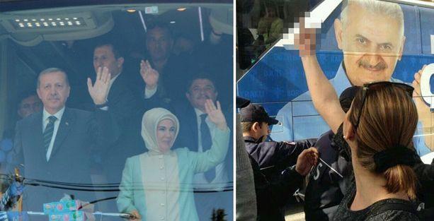 Erdoğan'a el hareketi yapmakla suçlanan kadına hapis istemi