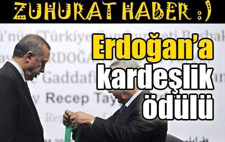 Erdoğan'a kardeşlik ödülü