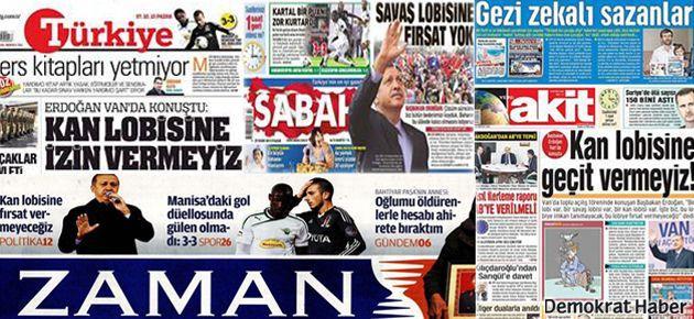 Erdoğan'ın 'kan lobisi' gazetelerde aynı başlıkla yer aldı