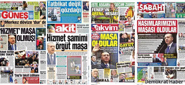 Erdoğan'ın 'maşa'sı 4 gazetenin manşetinde