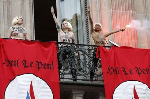 FEMEN'den Marine Le Pen'e protesto