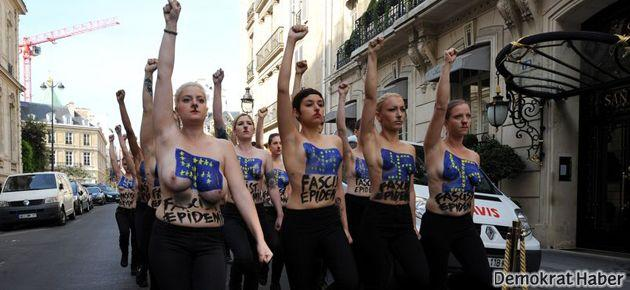 FEMEN'den Paris'te 'faşizm' protestosu