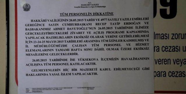 Hakkari Valiliği'nden AKP mitingine katılmayanlara 'yasal işlem' tehdidi