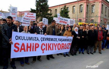 Halkalı Ziraat Mektebi önünde protesto