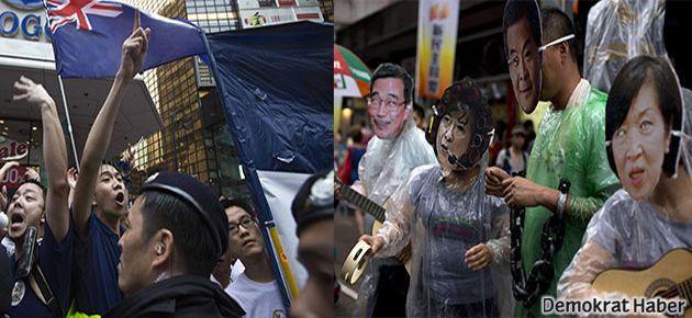 Hong Kong'ta onbinler demokrasi için yürüdü