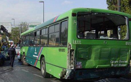 İETT otobüsü şaranpole yuvarlandı