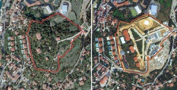 İmara aykırı restore edilen Vahdettin Köşkü'nde ağaç katliamı