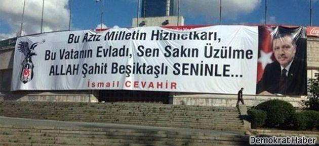 İnönü Stadı'na Erdoğan'a destek pankartı asıldı, indirildi