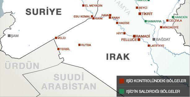 IŞİD'in ele geçirdiği bölgeler