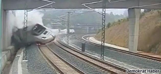 İspanya'daki tren kazasının kamera kaydı
