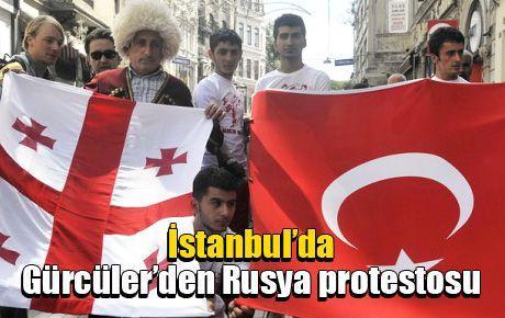 İstanbul'da Gürcüler'den Rusya protestosu