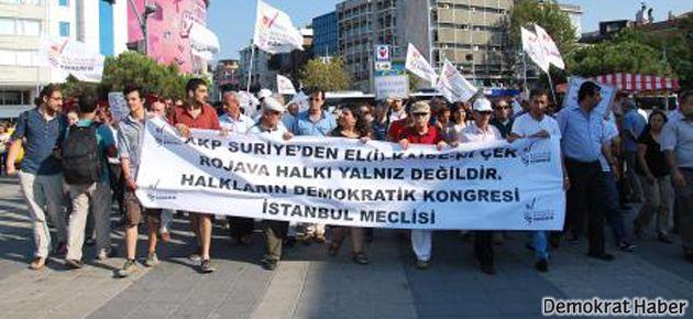 İstanbul'da Rojava için yürüdüler