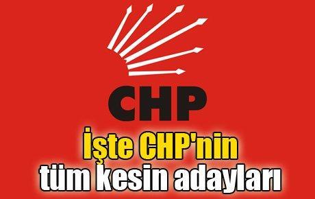 İşte CHP'nin tüm kesin adayları