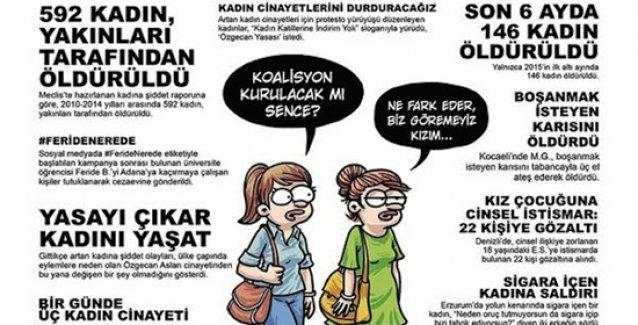 Kadın cinayetleri ve kadına yönelik şiddet Penguen'in kapağında