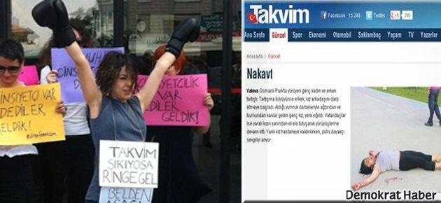 Kadınlardan Takvim'e 'nakavt' protestosu