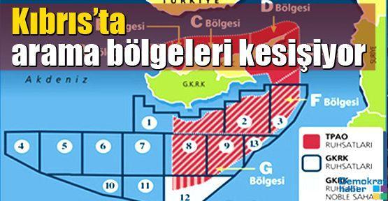 Kıbrıs'ta arama bölgeleri kesişiyor