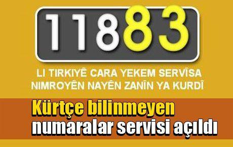 Kürtçe bilinmeyen numaralar servisi açıldı