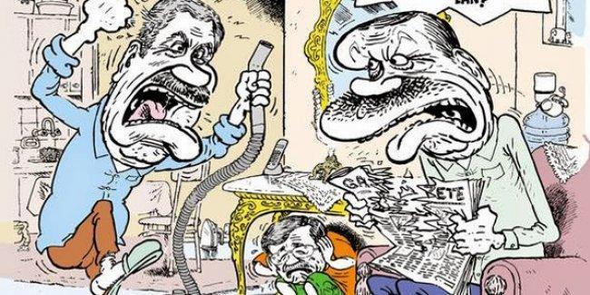 Leman, Erdoğan-Arınç 'kavgası'nı çizdi: Davutoğlu sehpanın altında