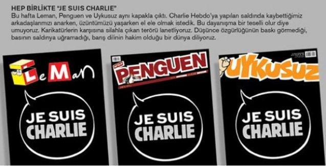 Leman, Penguen ve Uykusuz'dan Charlie Hebdo için ortak kapak