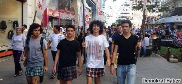 Lisede etek yasağı erkeklere etek giydirdi
