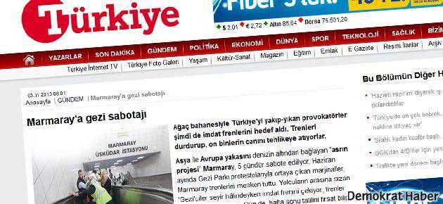'Marmaray'a Gezi Sabotajı' haberi üretildi
