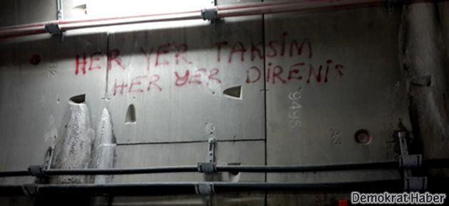 Marmaray'ın duvarına işçilerden 'direniş' sloganı
