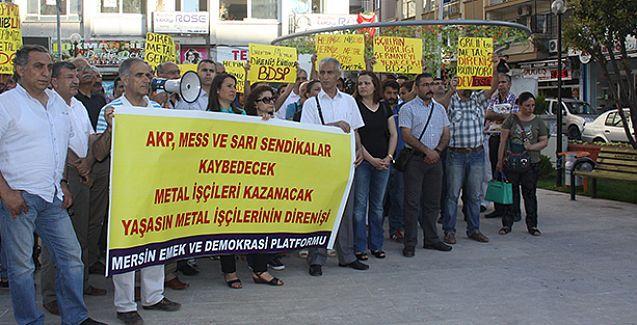 Mersin'den metal işçilerine destek