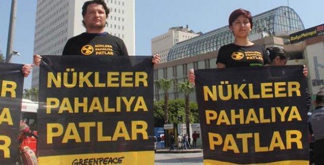 Mersin'in en yüksek binasında nükleer karşıtı eylem