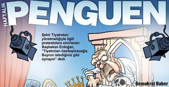 Penguen Erdoğan'ı sahneye çıkardı