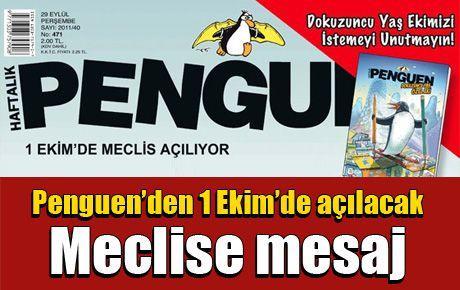 Penguen'den 1 Ekim'de açılacak Meclise mesaj