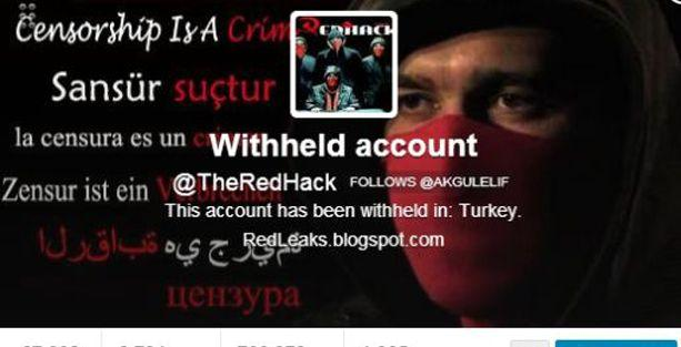 RedHack'in Twitter hesabına sansür