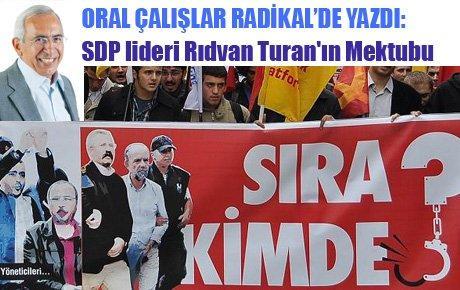 SDP lideri Rıdvan Turan'ın Mektubu