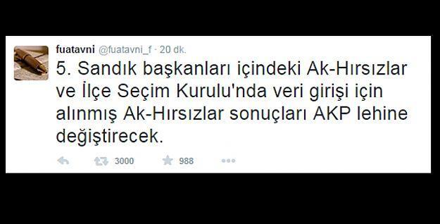 Seçime saatler kala Fuat Avni'den 'oy hırsızlığı' ile ilgili tweet'ler