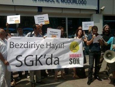 ''SGK'da mobbing'' protesto edildi