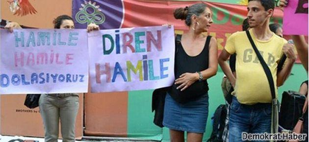 Taksim'de 'Diren Hamile' eylemi