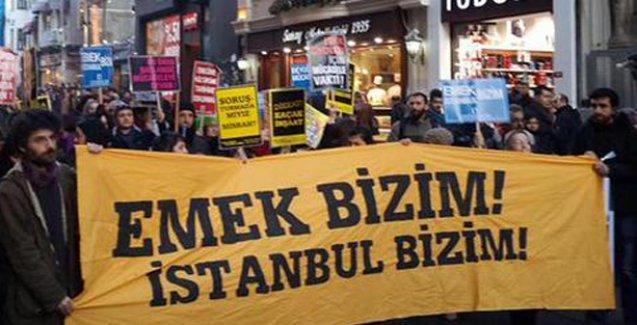Taksim'deki 'Emek Bizim İstanbul Bizim' yürüyüşünde arbede