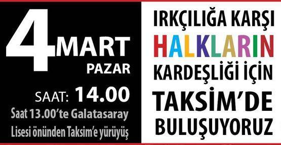 Taksim'e halkların kardeşliği için yürüyecekler