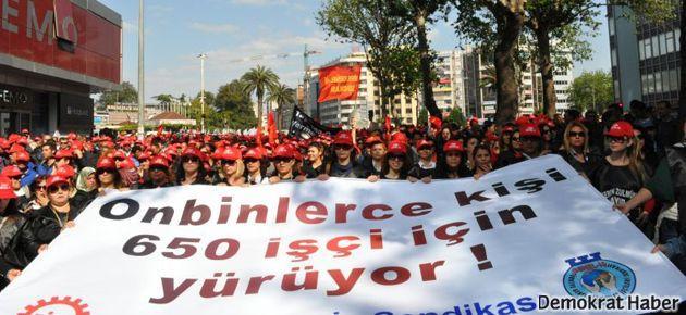 Taşerona karşı binlerce işçi yürüdü