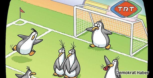 TRT'de penguenler top oynuyor