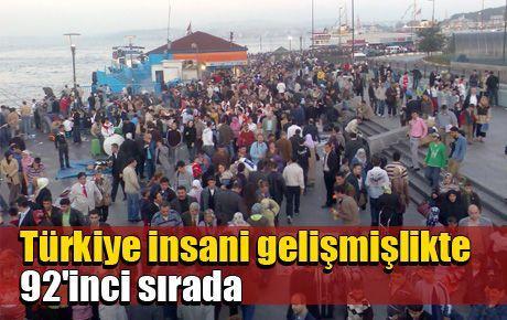 Türkiye insani gelişmişlikte 92'inci sırada