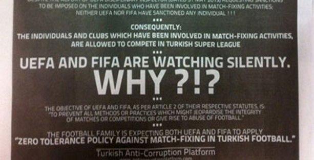 'Türkiye'deki şike faaliyetlerine UEFA ve FIFA müdahale etmiyor'