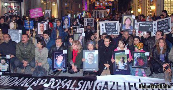 Tutuklu gazeteciler için yürüdüler