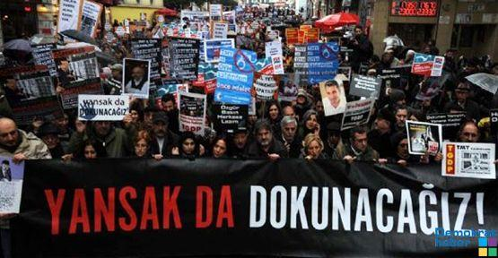 Tutuklu gazetecilere özgürlük için yürüdüler