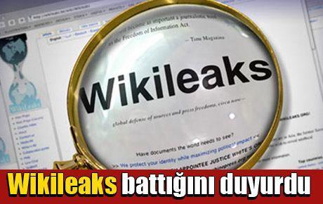 Wikileaks battığını duyurdu