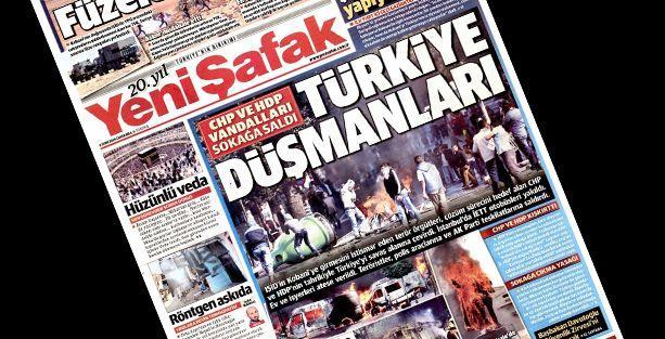 Yeni Şafak ölümleri görmedi, Kobani'ye destek için sokağa çıkanları 'terörist' ilan etti!