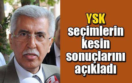YSK seçimlerin kesin sonuçlarını açıkladı