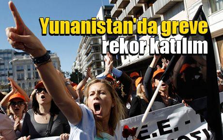 Yunanistan'da greve rekor katılım